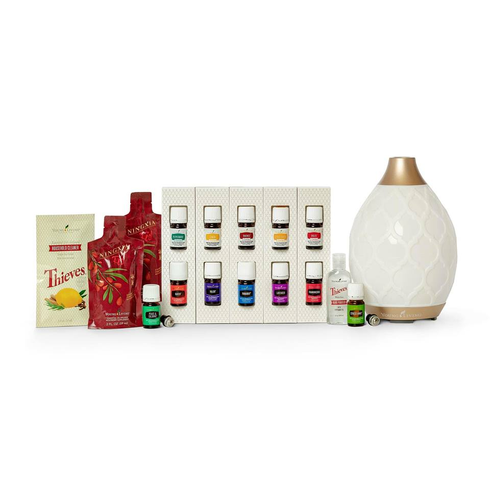 Young Living's Premium Starter Kit is $165 and includes 12 pure, therapeutic essential oils for use in all areas of your life, a diffuser of your choice, a sample of Thieves Household Cleaner (enough for two 16oz bottles), a bottle of Thieves Waterless Hand Purifier, samples of Ningxia Red, a super-high antioxidant juice supplement, and one roller bottle top.